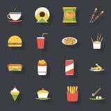 Vector plano retro de los iconos de los alimentos de preparación rápida y del sistema de símbolos Fotografía de archivo