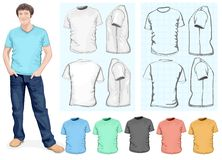 Plantilla del diseño de la camiseta de los hombres Imagen de archivo libre de regalías
