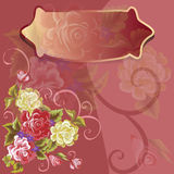 Vector plaque on flower background colors. Poster vector plaque on flower Stock Photos