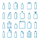 Vector plastic bottles in outline style Royalty Free Stock Photography