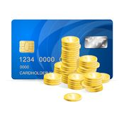 Vector Plastic card and coins Stock Images