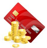Vector Plastic card and coins Royalty Free Stock Photography