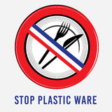 Vector plastic, dishes, bowl, knife, fork, stop sign, environment, ban, the French flag. Vector plastic, dishes, bowl, knife, fork stop sign environment ban Stock Image