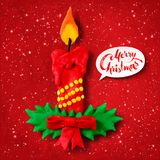 Vector plasticine figure of Christmas candle. Vector hand made plasticine figure of Christmas candle with shadow  on  red festive grunge bacground with snowfall Royalty Free Stock Photography