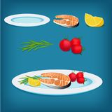 Plate with Grilled Fish, Lemon and Vegetables. Vector plate with grilled fish, lemon and vegetables. All elements are isolated. Perfect for cooking games Royalty Free Stock Images