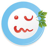 Vector plate with ketchup smiley Royalty Free Stock Photos