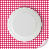 Vector plate on tablecloth Stock Image