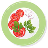 Vector plate with tomatoes. Vector plate with sliced tomatoes, parsley and onion Stock Photos