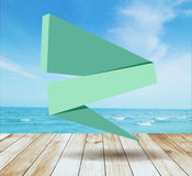 Vector platform beside sea with vintage ribbon banner Royalty Free Stock Photo