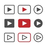 Vector Play button icon set stock illustration