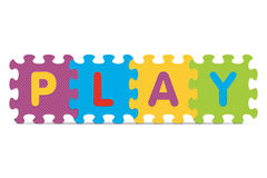 Vector PLAY written with alphabet puzzle Royalty Free Stock Photo