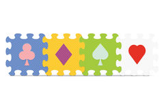 Vector playing card signs made with puzzle Stock Photo