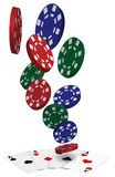 Vector Playing Cards and Poker Chips Royalty Free Stock Images