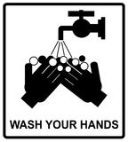 Vector please wash your hands sign,. Vector please wash your hands befove eating, drinking or smoking sign, notice sticker for public places, WC royalty free illustration