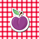 Vector plum. On checkered background vector illustration