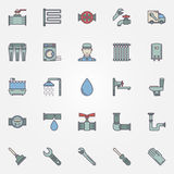 Vector plumbing colorful icons Royalty Free Stock Images
