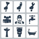 Vector plumbing icons set Royalty Free Stock Photo