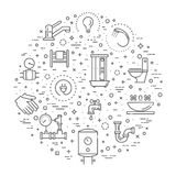 Vector plumbing outline icons set Royalty Free Stock Images