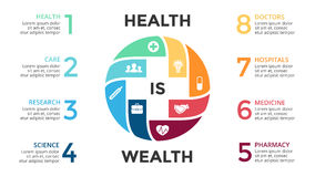 Vector plus infographic, medical diagram, healthcare graph, hospital presentation. Circle arrows diagram for graph infographic presentation with 4, 8 steps Stock Photo
