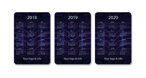Vector pocket calendar set. 2018, 2019 and 2020 years. Blue design template. Royalty Free Stock Photo
