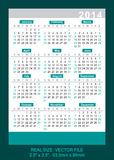 Vector pocket calendar 2014, start on Sunday Stock Image