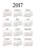 Vector pocket 2017 year calendar. Week starts from Sunday, eps 10 Royalty Free Stock Photography