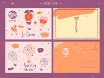 Vector poctcard met het bedrijf van de embleemreis De reis van de toerist Jour Royalty-vrije Stock Fotografie