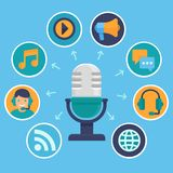 Vector podcast concept in flat style. Microphone and audio icons and signs stock illustration