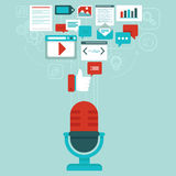 Vector podcast concept in flat style. Microphone and audio icons and signs Royalty Free Stock Images