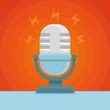 Vector podcast icon in flat icon. Microphone and sound concept Royalty Free Stock Images