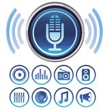 Vector podcast icons. Signs and symbols for audio apps stock illustration