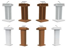 Vector Podium Tribune Rostrum Stand with Microphones. Isolated Royalty Free Stock Photography