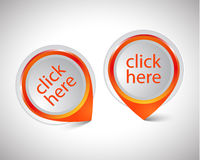 Vector pointer Click here Stock Photo