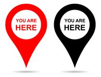 Vector pointer map pin navigation. you are here sign stock illustration