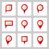 Vector pointer  red icons set various forms Stock Photos
