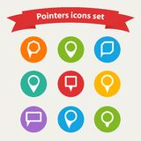 Vector pointer  white icons set  various forms Stock Photography
