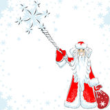 Vector Points to a happy Santa Claus staff Royalty Free Stock Images