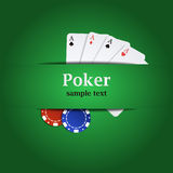 Vector poker background with playing cards and chips Royalty Free Stock Image