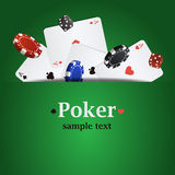 Vector poker background with playing cards, chips and dices Royalty Free Stock Photo