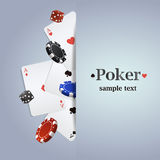 Vector poker background with playing cards, chips and dices Royalty Free Stock Photos