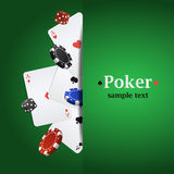 Vector poker background with playing cards, chips and dices Stock Images