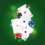 Vector poker background with playing cards, chips and dices Royalty Free Stock Images