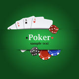 Vector poker background with playing cards, chips and dices Royalty Free Stock Photography