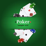 Vector poker background with playing cards, chips and dices Stock Photo