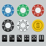 Vector poker chips and dice Royalty Free Stock Images