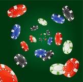 Vector Poker Chips Rain Winner Concept  Royalty Free Stock Image