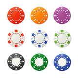 Vector poker chips set Royalty Free Stock Image