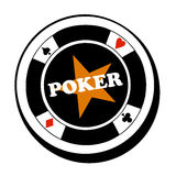 Vector poker fish logo. Vector illustration of poker fish with symbols and star Royalty Free Stock Photo