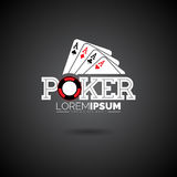 Vector Poker Logo Design Template with gambling elements. Royalty Free Stock Photos