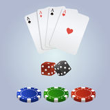 Vector poker set with playing cards, dices and chips Stock Photography